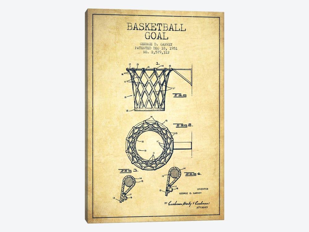 Basketball Goal Vintage Patent Blueprint by Aged Pixel 1-piece Canvas Artwork