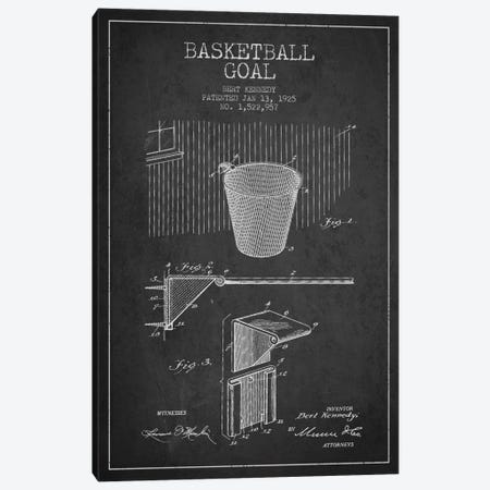Basketball Goal Charcoal Patent Blueprint Canvas Print #ADP2085} by Aged Pixel Art Print