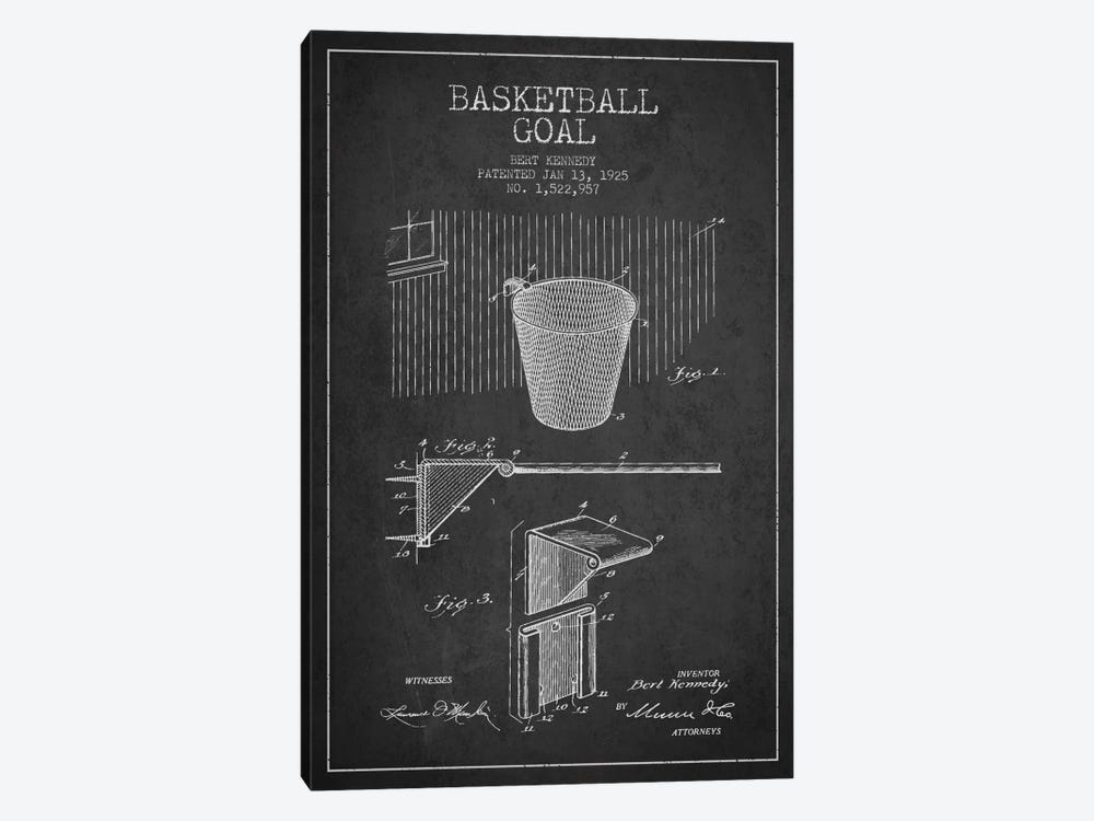 Basketball Goal Charcoal Patent Blueprint 1-piece Art Print