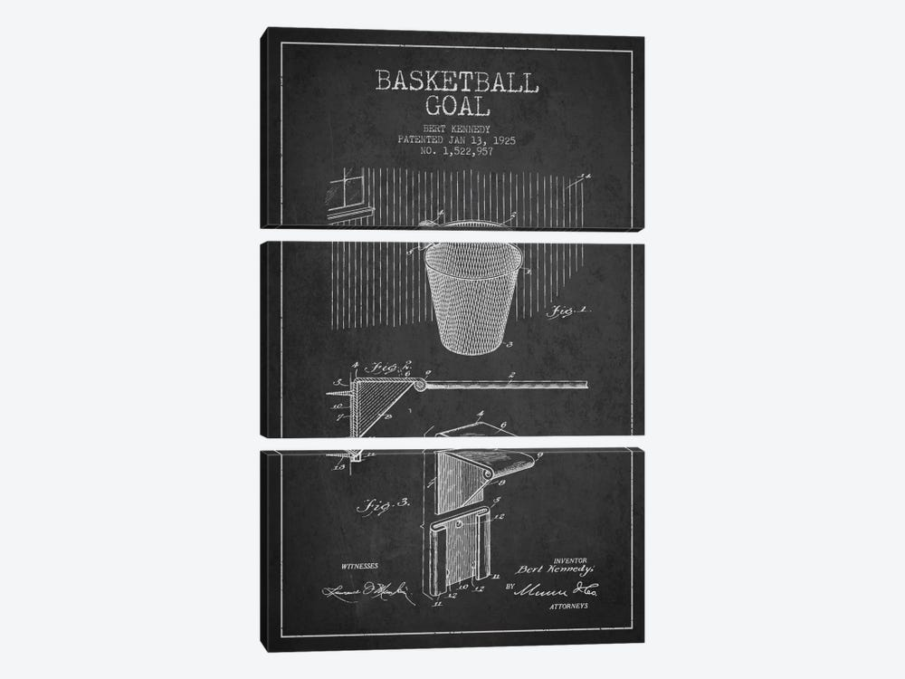 Basketball Goal Charcoal Patent Blueprint 3-piece Canvas Art Print