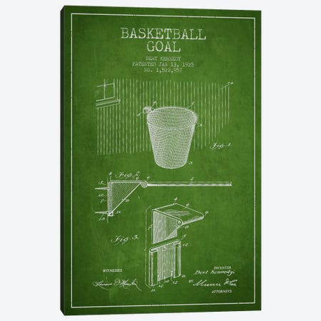 Basketball Goal Green Patent Blueprint Canvas Print #ADP2086} by Aged Pixel Canvas Art Print