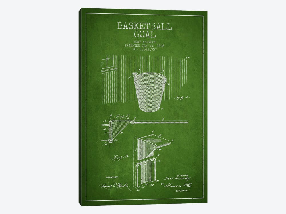 Basketball Goal Green Patent Blueprint by Aged Pixel 1-piece Canvas Artwork