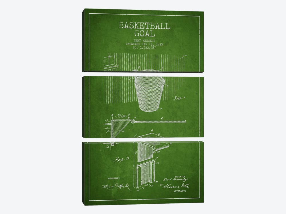 Basketball Goal Green Patent Blueprint by Aged Pixel 3-piece Canvas Wall Art