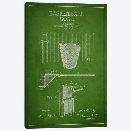 Basketball Goal Green Patent Blueprint Canvas Print #ADP2086} by Aged Pixel Canvas Art Print