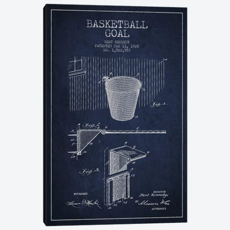 Basketball Goal Navy Blue Patent Blueprint Canvas Print #ADP2087} by Aged Pixel Canvas Art Print