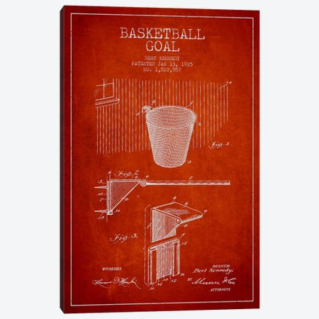 Basketball Goal Red Patent Blueprint Canvas Print #ADP2088} by Aged Pixel Canvas Art