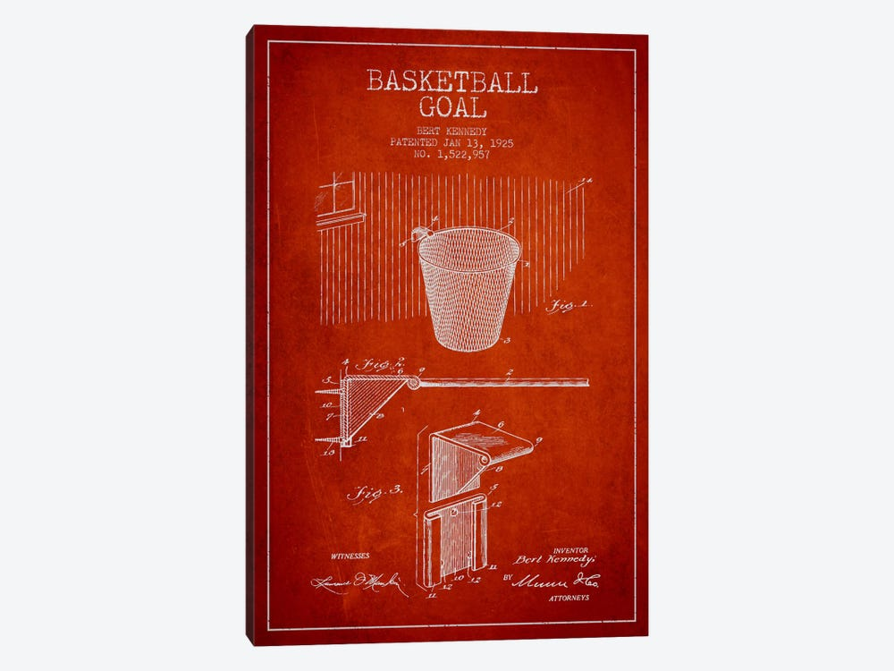 Basketball Goal Red Patent Blueprint by Aged Pixel 1-piece Canvas Wall Art