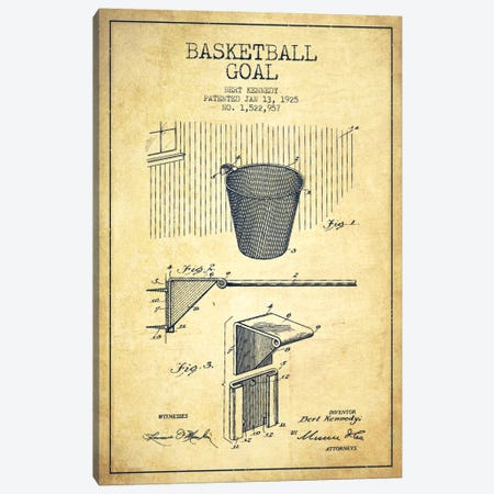 Basketball Goal Vintage Patent Blueprint Canvas Print #ADP2089} by Aged Pixel Canvas Wall Art