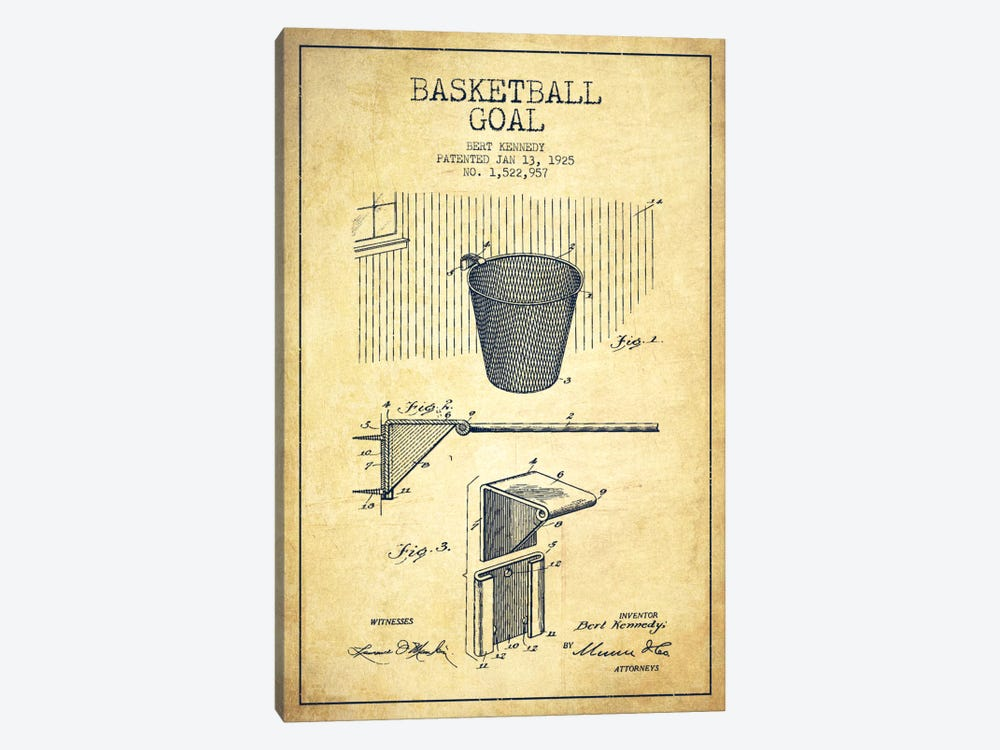 Basketball Goal Vintage Patent Blueprint by Aged Pixel 1-piece Art Print