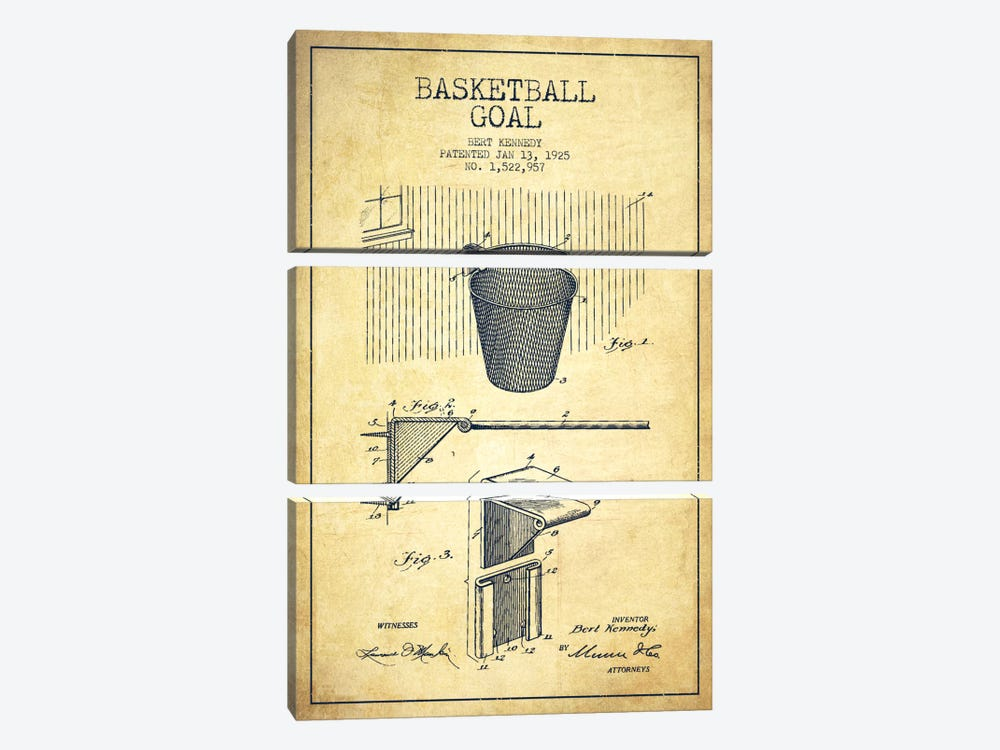 Basketball Goal Vintage Patent Blueprint by Aged Pixel 3-piece Art Print