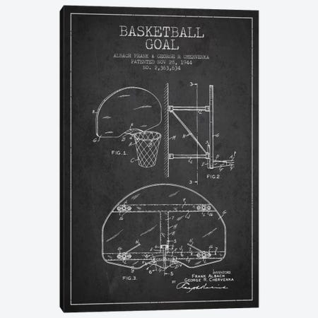 Basketball Goal Charcoal Patent Blueprint Canvas Print #ADP2090} by Aged Pixel Art Print