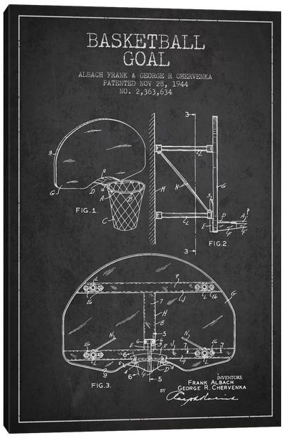 F. Albach & G.R. Chervenka Basketball Goal Patent Blueprint (Charcoal) Canvas Art Print