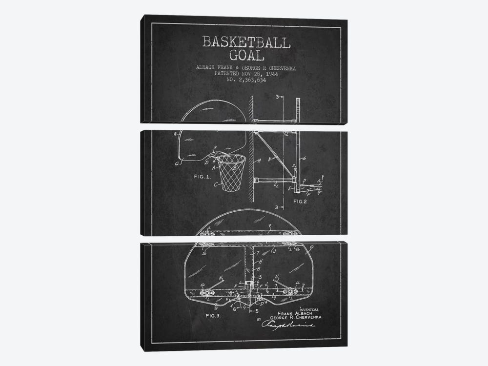F. Albach & G.R. Chervenka Basketball Goal Patent Blueprint (Charcoal) by Aged Pixel 3-piece Canvas Print