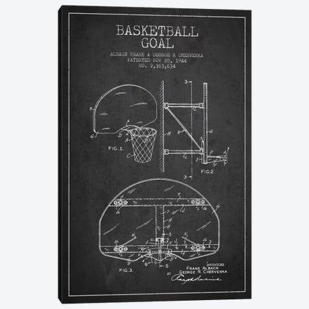 F. Albach & G.R. Chervenka Basketball Goal Patent Blueprint (Charcoal) Canvas Print #ADP2090} by Aged Pixel Art Print