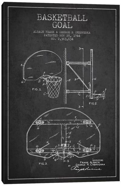 F. Albach & G.R. Chervenka Basketball Goal Patent Blueprint (Charcoal) Canvas Art Print