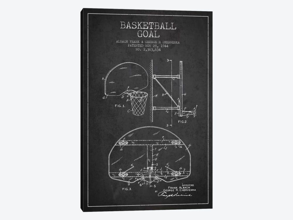 F. Albach & G.R. Chervenka Basketball Goal Patent Blueprint (Charcoal) by Aged Pixel 1-piece Canvas Art Print