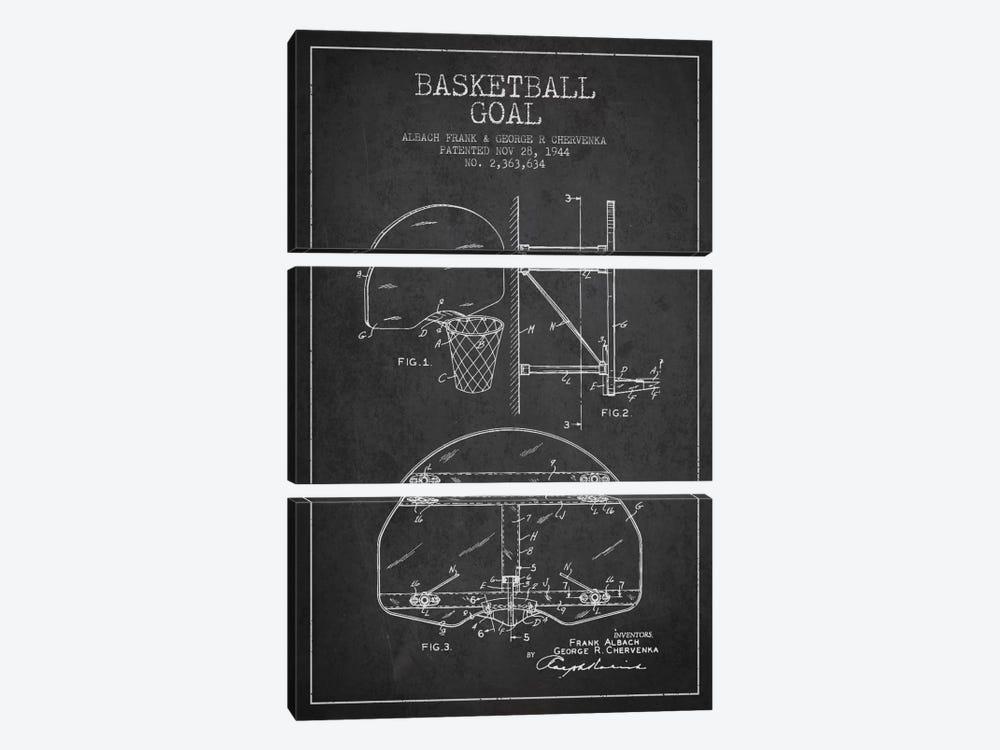F. Albach & G.R. Chervenka Basketball Goal Patent Blueprint (Charcoal) by Aged Pixel 3-piece Canvas Print