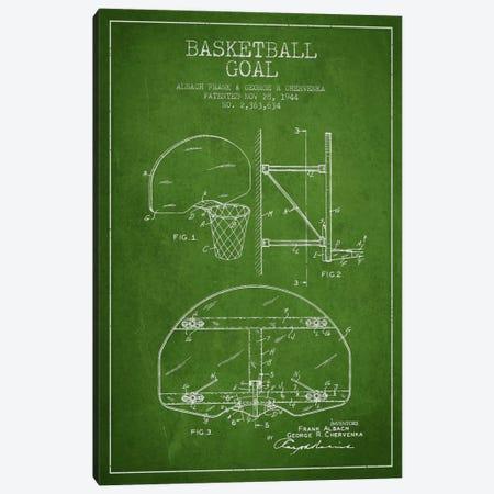 F. Albach & G.R. Chervenka Basketball Goal Patent Blueprint (Green) Canvas Print #ADP2091} by Aged Pixel Canvas Art Print