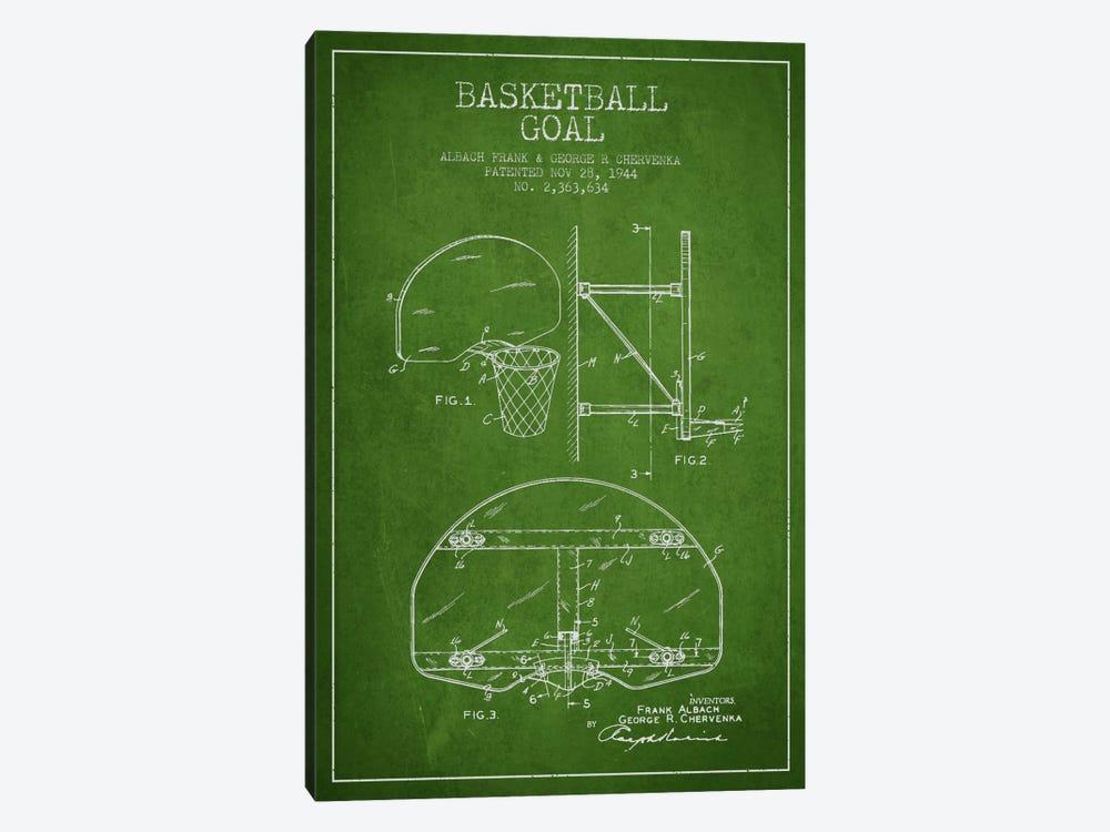 F. Albach & G.R. Chervenka Basketball Goal Patent Blueprint (Green) by Aged Pixel 1-piece Canvas Wall Art