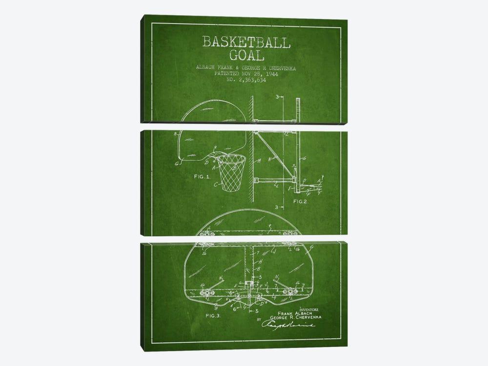 F. Albach & G.R. Chervenka Basketball Goal Patent Blueprint (Green) by Aged Pixel 3-piece Canvas Wall Art