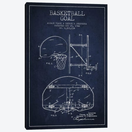 F. Albach & G.R. Chervenka Basketball Goal Patent Blueprint (Navy Blue) Canvas Print #ADP2092} by Aged Pixel Canvas Print