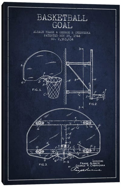 F. Albach & G.R. Chervenka Basketball Goal Patent Blueprint (Navy Blue) Canvas Art Print