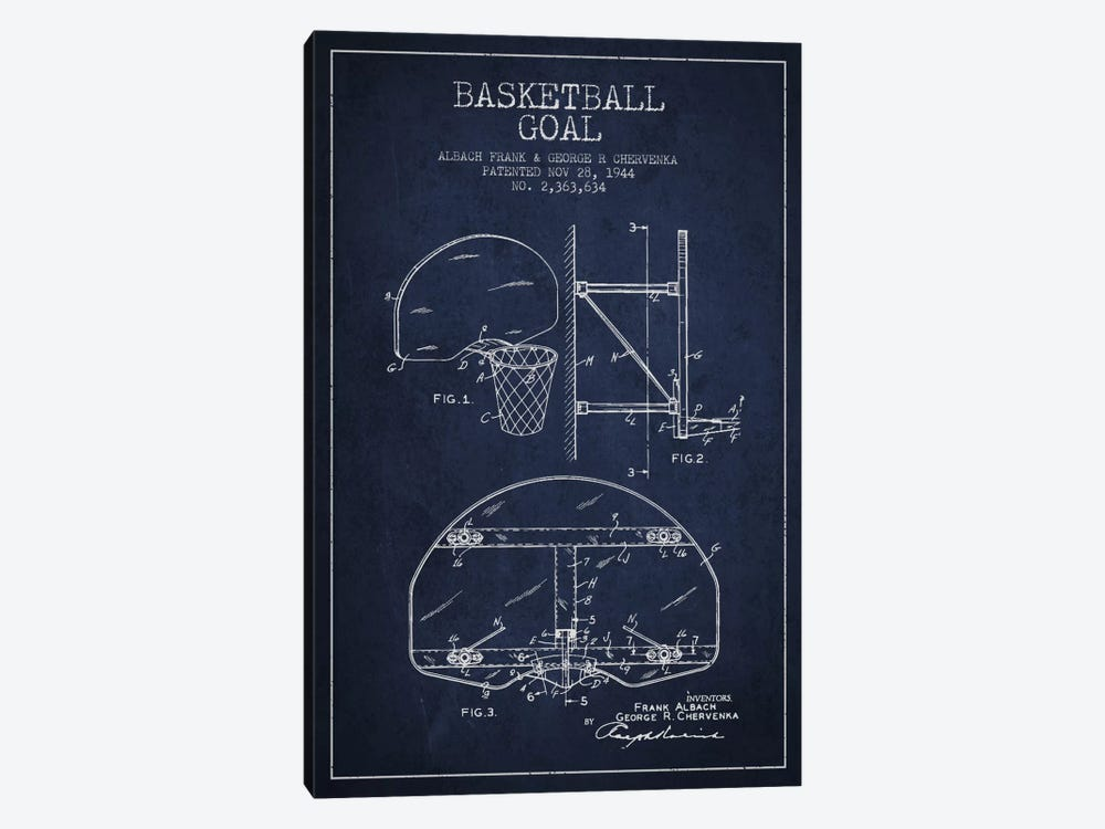 F. Albach & G.R. Chervenka Basketball Goal Patent Blueprint (Navy Blue) by Aged Pixel 1-piece Canvas Print