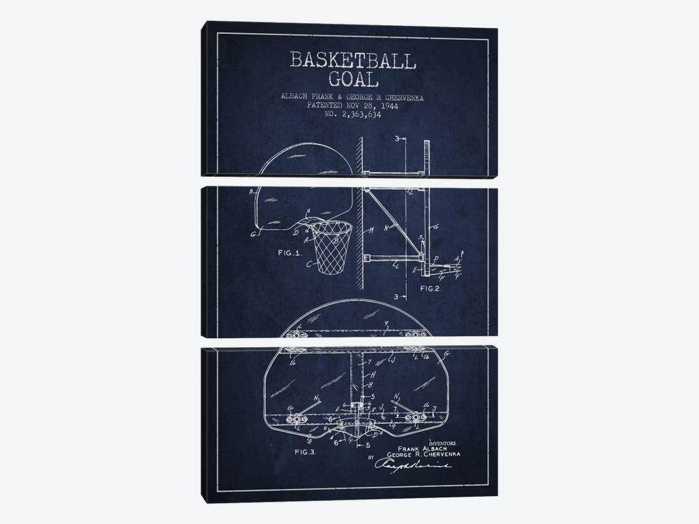 F. Albach & G.R. Chervenka Basketball Goal Patent Blueprint (Navy Blue) by Aged Pixel 3-piece Canvas Art Print