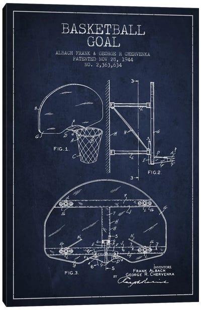 F. Albach & G.R. Chervenka Basketball Goal Patent Blueprint (Navy Blue) Canvas Art Print