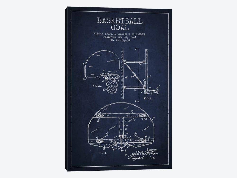 F. Albach & G.R. Chervenka Basketball Goal Patent Blueprint (Navy Blue) by Aged Pixel 1-piece Canvas Print