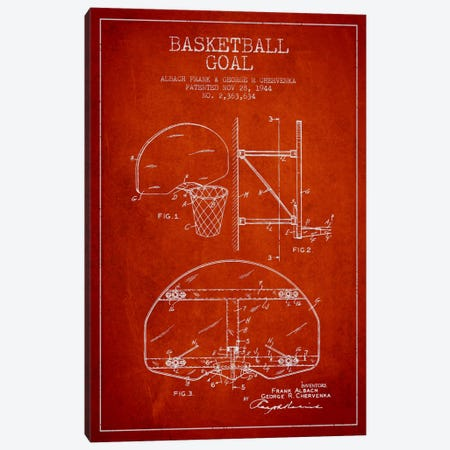 F. Albach & G.R. Chervenka Basketball Goal Patent Blueprint (Red) Canvas Print #ADP2093} by Aged Pixel Canvas Print