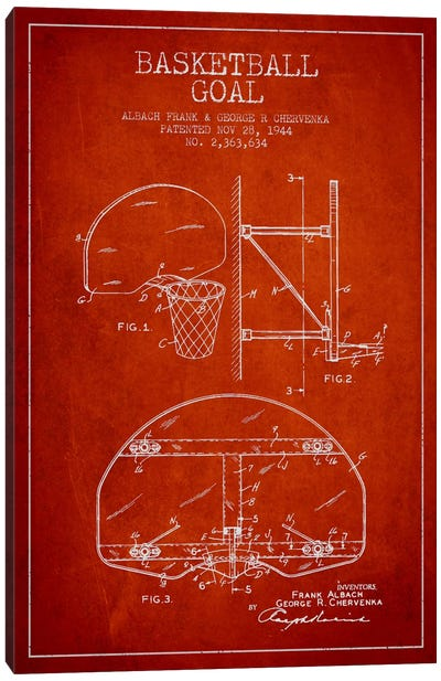 F. Albach & G.R. Chervenka Basketball Goal Patent Blueprint (Red) Canvas Art Print