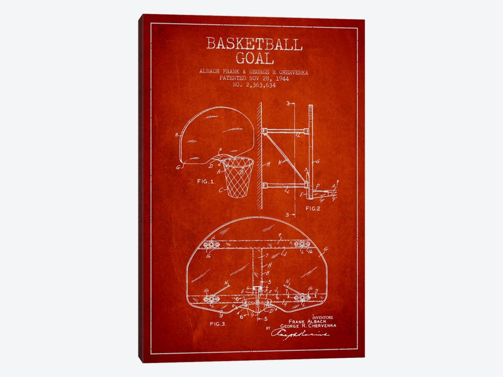 F. Albach & G.R. Chervenka Basketball Goal Patent Blueprint (Red) by Aged Pixel 1-piece Canvas Artwork