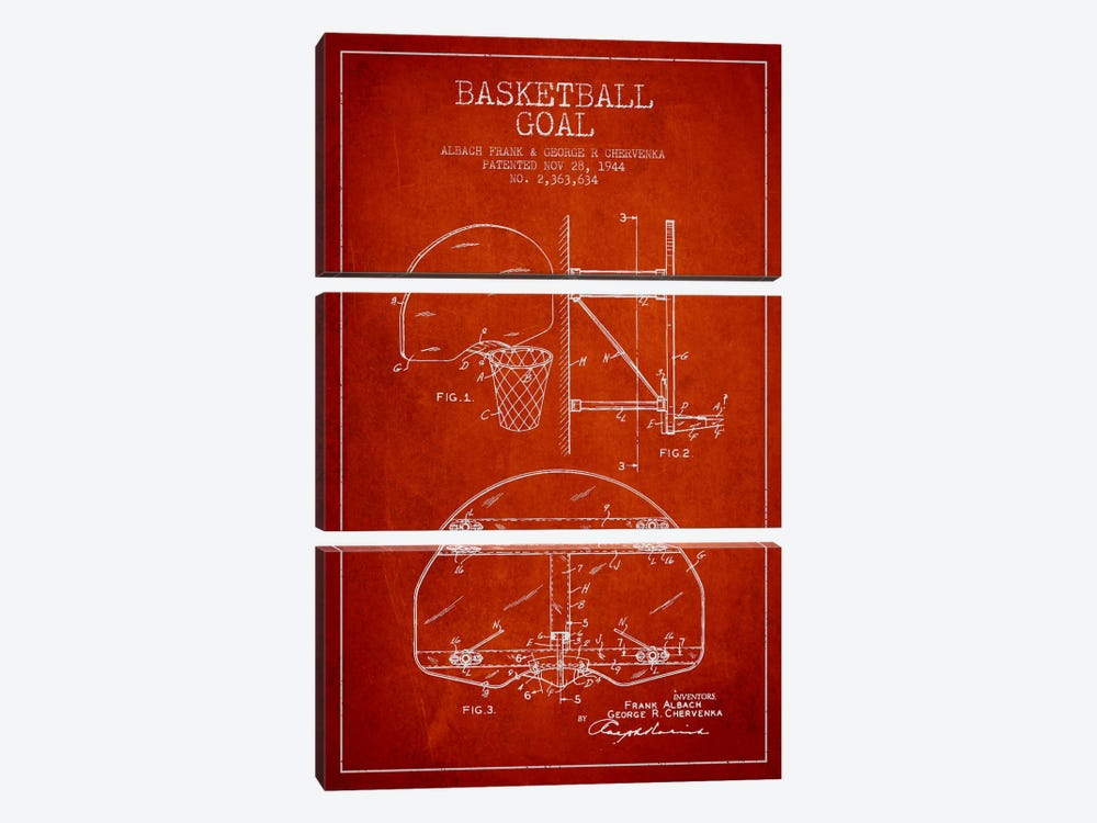 F. Albach & G.R. Chervenka Basketball Goal Patent Blueprint (Red) by Aged Pixel 3-piece Canvas Artwork