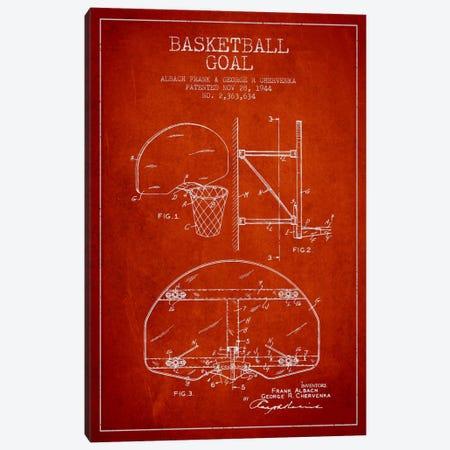 F. Albach & G.R. Chervenka Basketball Goal Patent Blueprint (Red) Canvas Print #ADP2093} by Aged Pixel Canvas Print