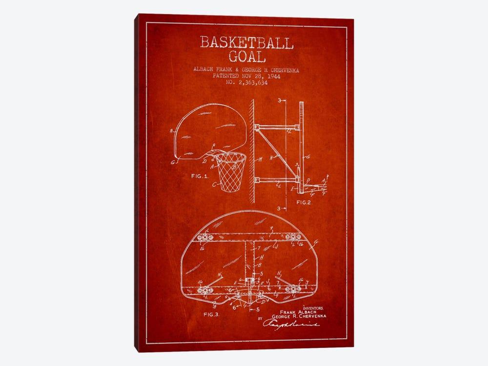 F. Albach & G.R. Chervenka Basketball Goal Patent Blueprint (Red) by Aged Pixel 1-piece Canvas Artwork