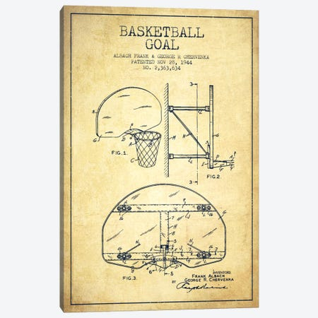 F. Albach & G.R. Chervenka Basketball Goal Patent Blueprint (Vintage) Canvas Print #ADP2094} by Aged Pixel Canvas Wall Art