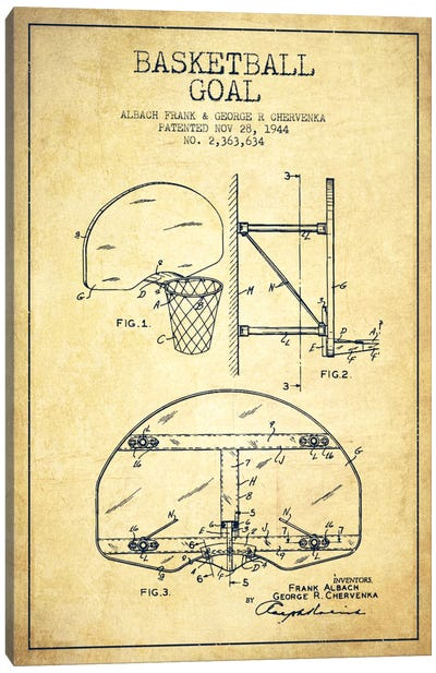 Basketball Goal Vintage Patent Blueprint Canvas Art Print