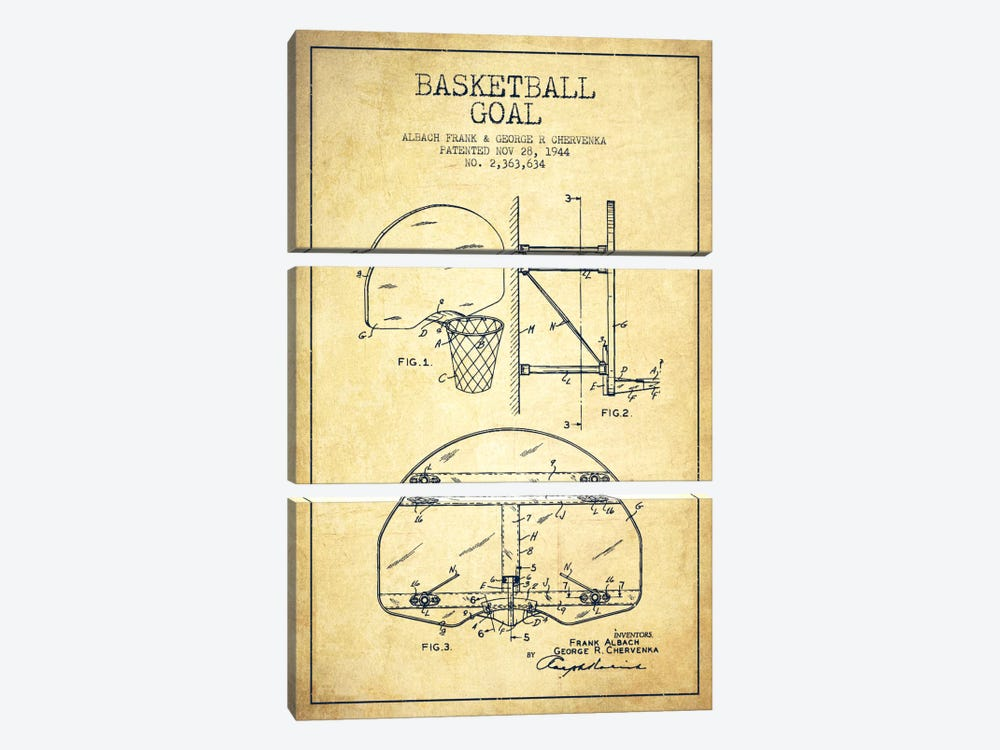 Basketball Goal Vintage Patent Blueprint by Aged Pixel 3-piece Canvas Art Print