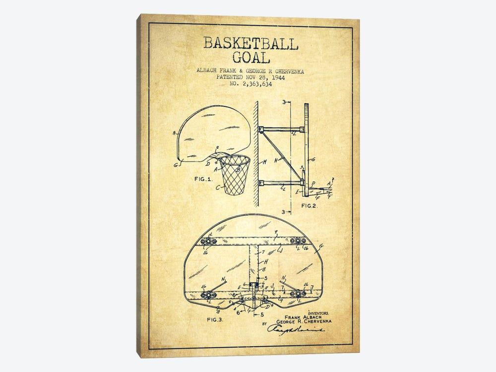 F. Albach & G.R. Chervenka Basketball Goal Patent Blueprint (Vintage) by Aged Pixel 1-piece Art Print