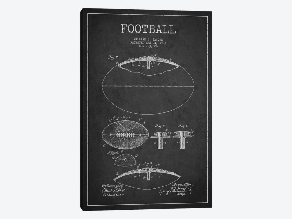 Football Charcoal Patent Blueprint by Aged Pixel 1-piece Canvas Wall Art