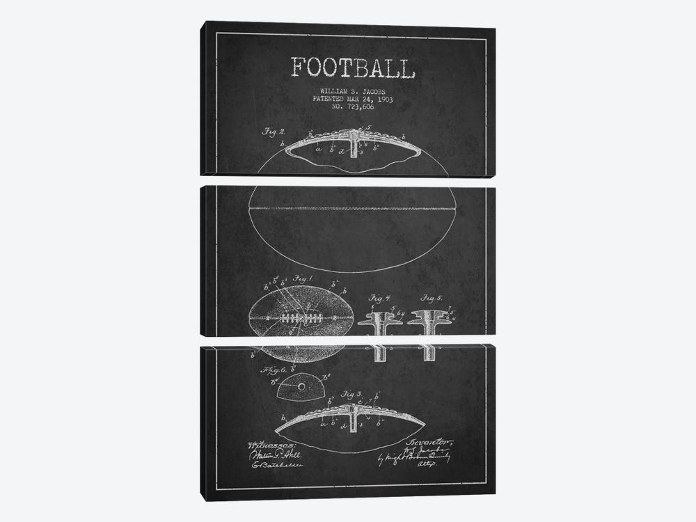 Football Charcoal Patent Blueprint by Aged Pixel 3-piece Canvas Artwork