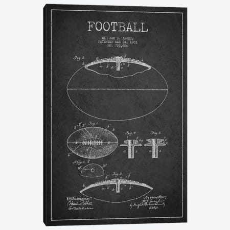 Football Charcoal Patent Blueprint Canvas Print #ADP2095} by Aged Pixel Canvas Art