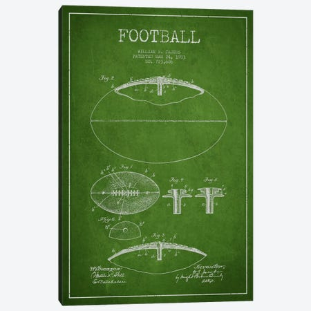 Football Green Patent Blueprint Canvas Print #ADP2096} by Aged Pixel Canvas Wall Art
