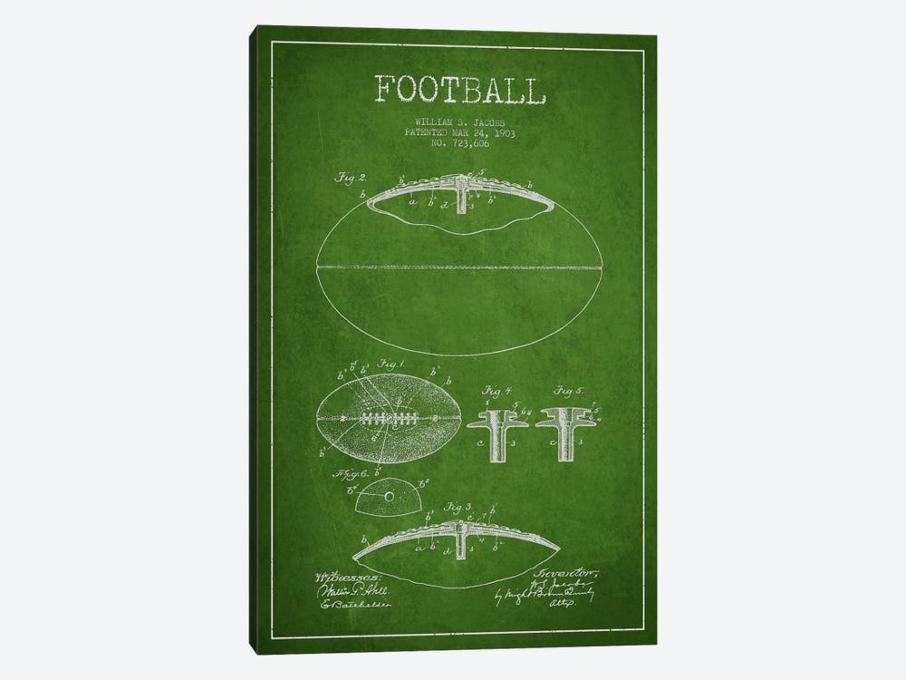 Football Green Patent Blueprint by Aged Pixel 1-piece Art Print