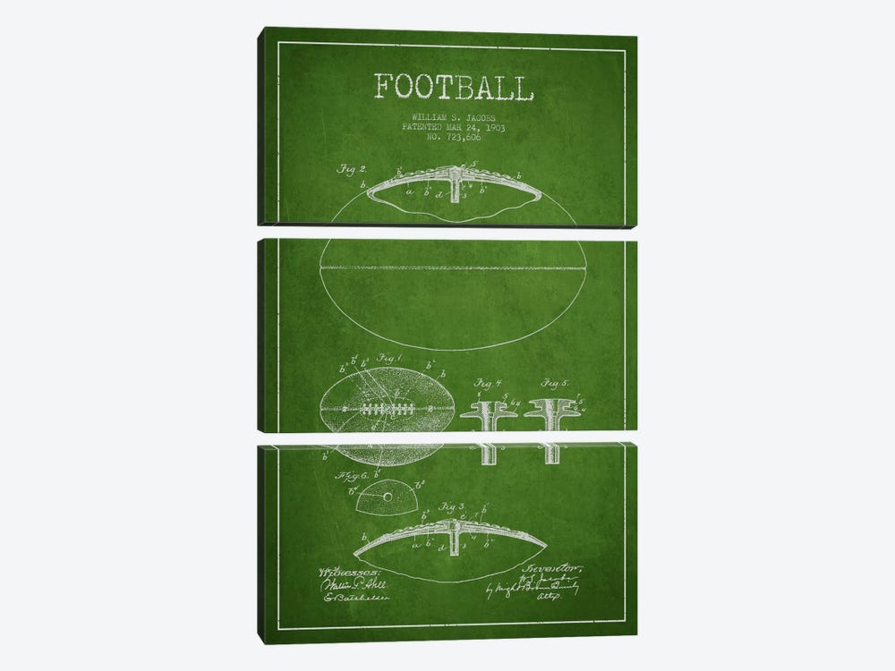 Football Green Patent Blueprint by Aged Pixel 3-piece Art Print