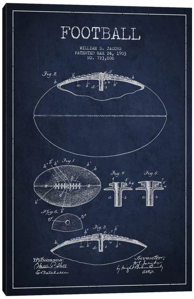 Football All Navy Blue Patent Blueprint Canvas Print #ADP2097