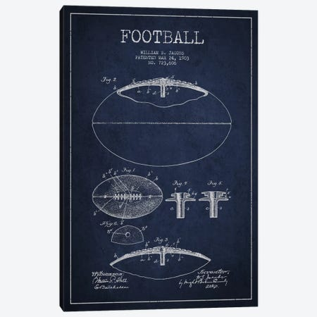 Football All Navy Blue Patent Blueprint Canvas Print #ADP2097} by Aged Pixel Canvas Artwork