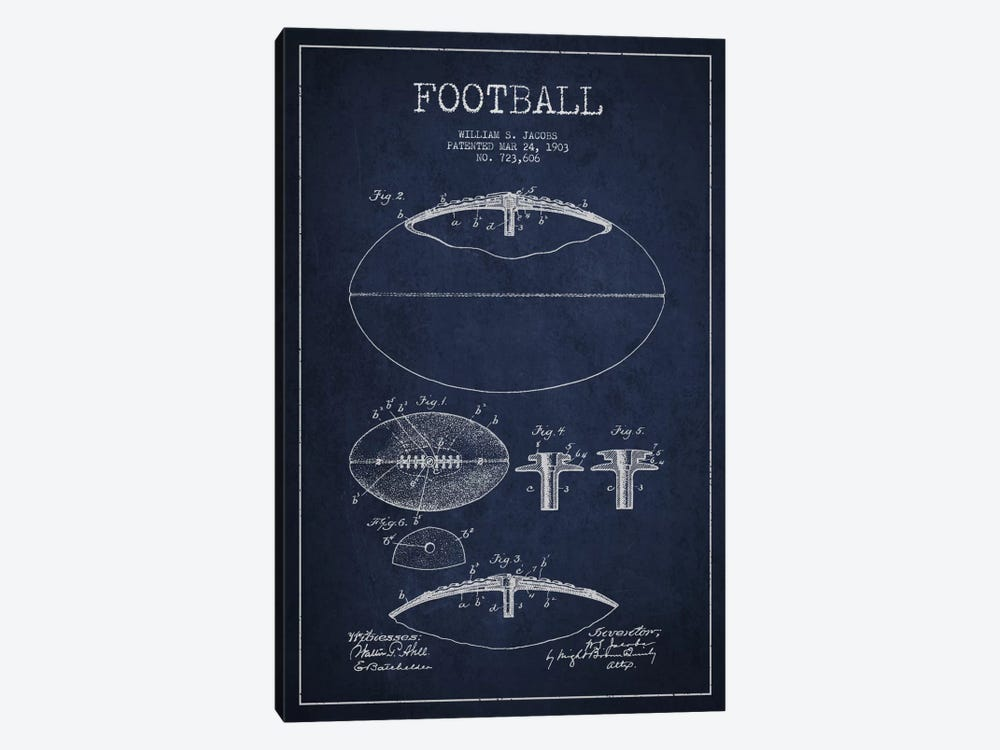 Football All Navy Blue Patent Blueprint by Aged Pixel 1-piece Canvas Wall Art