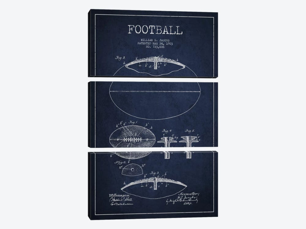 Football All Navy Blue Patent Blueprint by Aged Pixel 3-piece Canvas Art